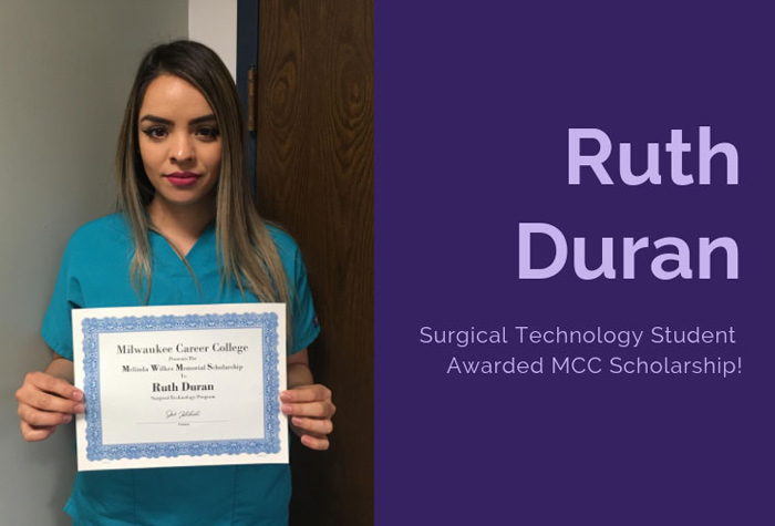 A surgical tech student with a certificate.