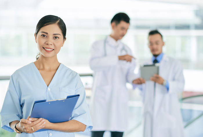 A professional healthcare professional in a healthcare setting.