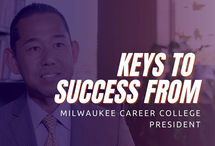 Jack Takahashi sitting talking with the words 'Keys to Success' in front