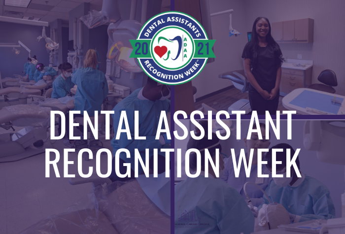 dental assistants collage with logo and text that reads dental assistant recognition week